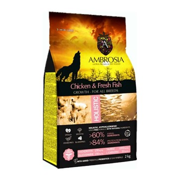 AMBROSIA GF DOG GROWTH CHICKEN & FISH 2Kg.