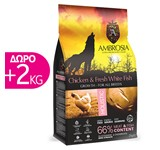 AMBROSIA GRAIN-FREE DOG GROWTH CHICKEN & FISH 12Kg+2Kg ΔΩΡΟ