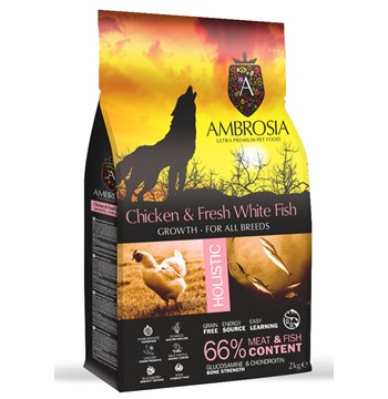 AMBROSIA GF DOG GROWTH CHICKEN & FISH 12Kg.
